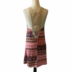 LUSH BohoPrint Crochet RacerBack Lightweight Dress
